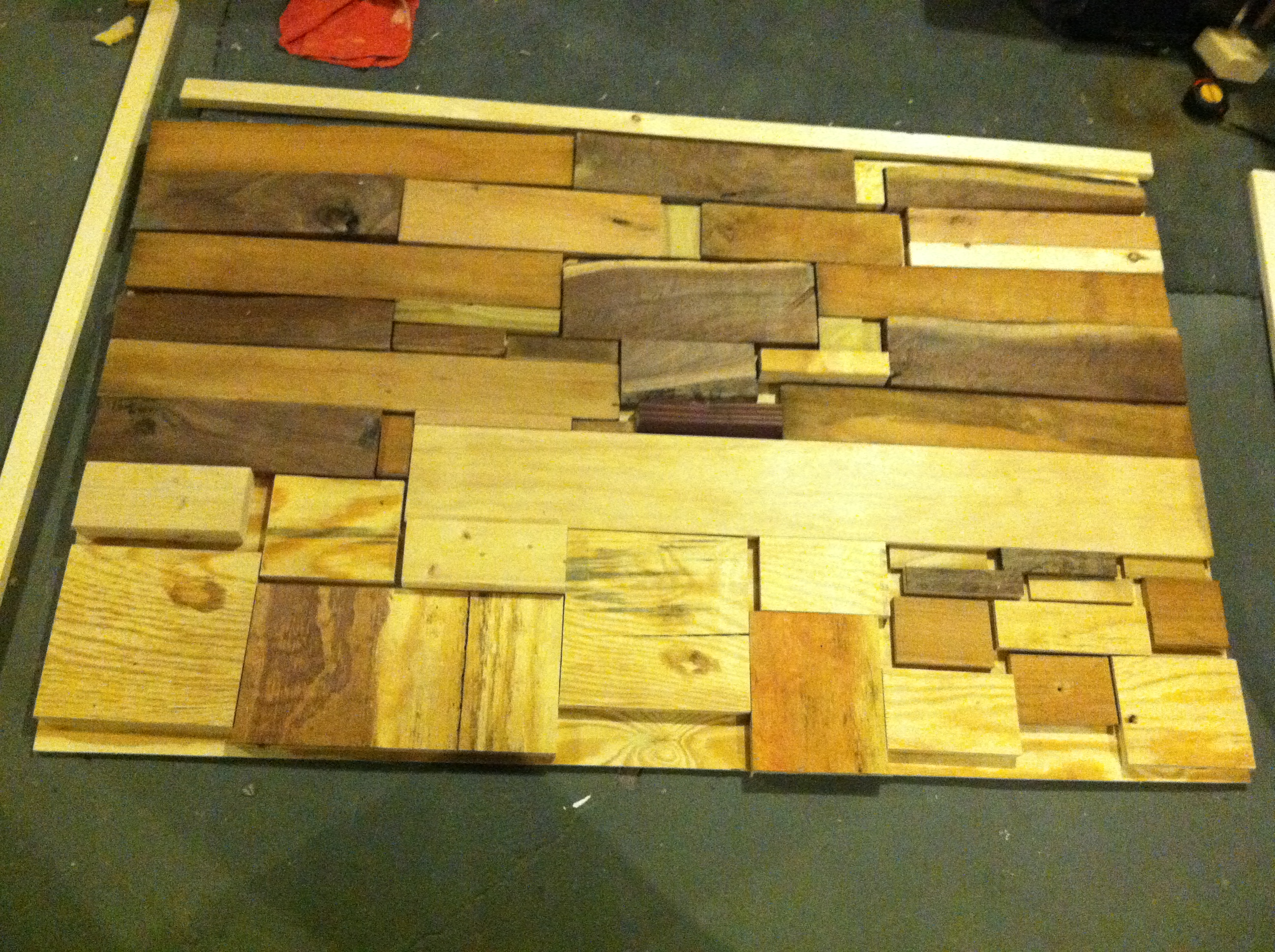 Amazing photo of Then we got started on staining … each piece of wood took the stain  with #C2BF09 color and 2592x1936 pixels